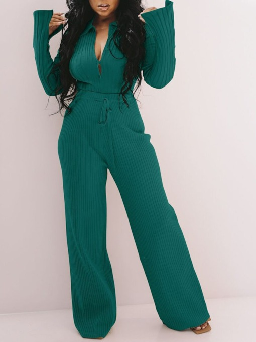 Pants Plain Casual Single-Breasted Women's Two Piece Sets