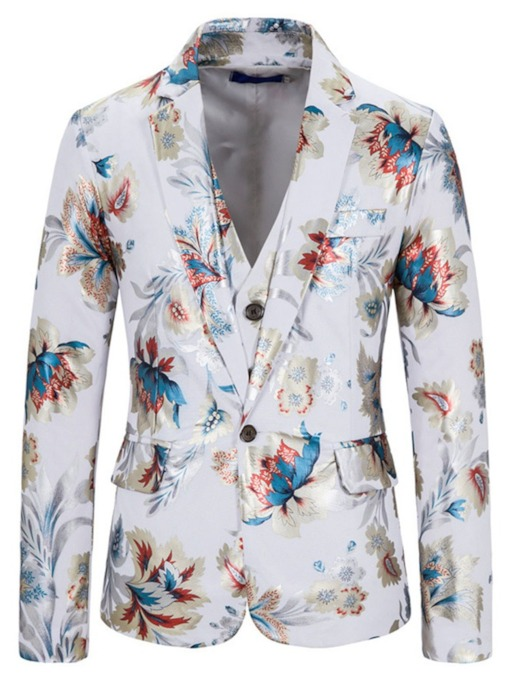 Casual Floral One Button Blazer Men's Dress Suit