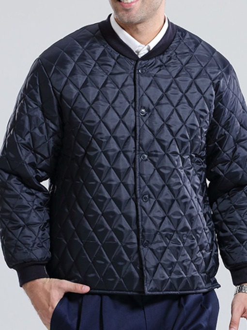 Plain Standard Stand Collar Single-Breasted Men's Down Jacket