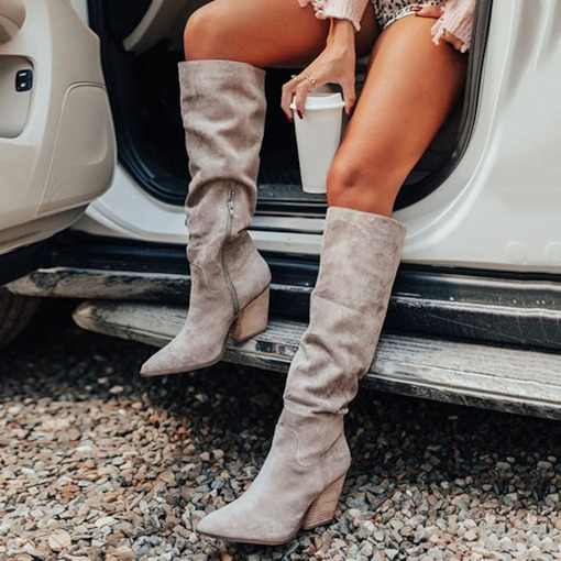 Pointed Toe Side Zipper Plain Western Boots