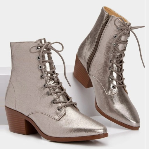 Plain Chunky Heel Side Zipper Pointed Toe Cotton Boots
