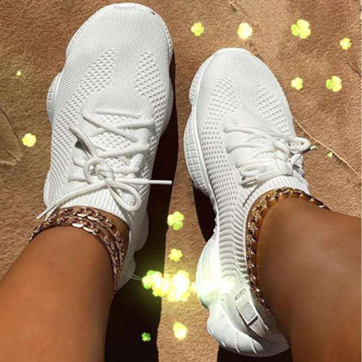 Low-Cut Upper Round Toe Lace-Up Plain Sneakers