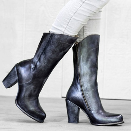 Chunky Heel Side Zipper Plain Round Toe Cotton Boots