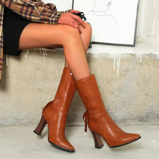 Side Zipper Plain Pointed Toe Lace-Up Boots