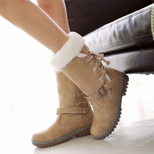 Lace-Up Back Round Toe Block Heel Buckle Boots