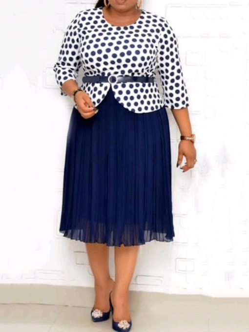 Western Polka Dots Skirt Patchwork Pullover Women's Two Piece Sets