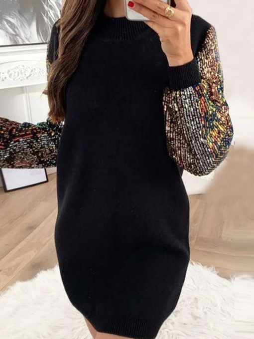 Sequins Above Knee Long Sleeve Round Neck Fashion Women's Dress
