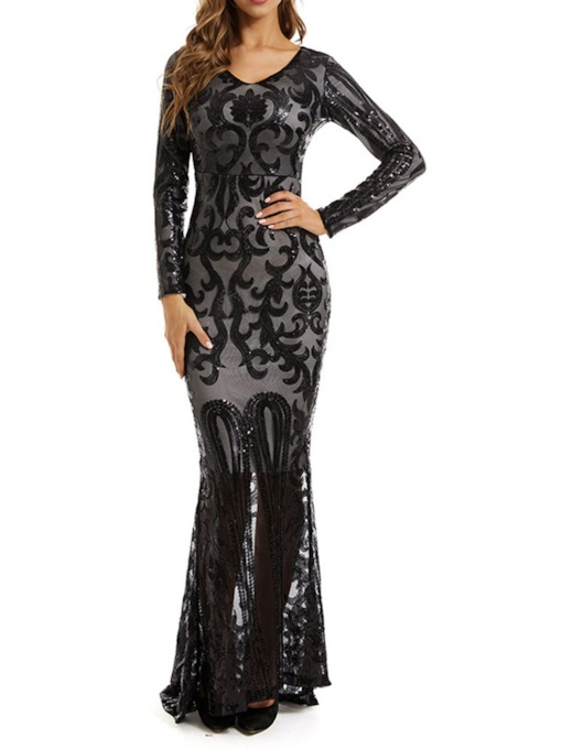 Long Sleeve V-Neck Mesh Floor-Length Sexy Women's Dress