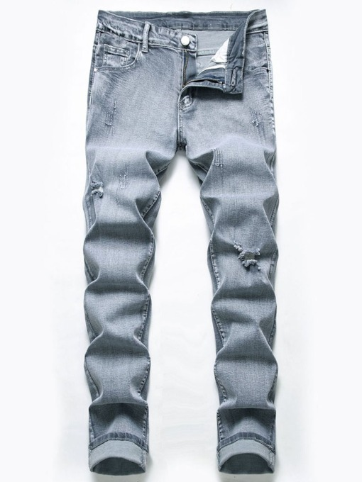 Straight Plain Worn Mid Waist Casual Men's Jeans