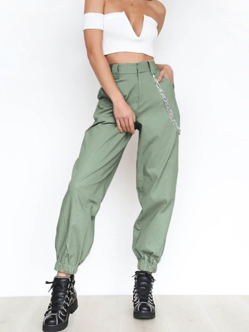 Plain Loose Pleated High Waist Women's Casual Pants