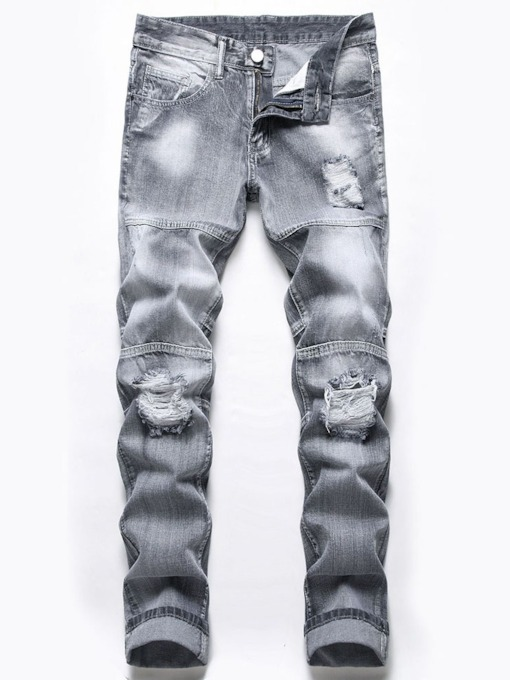 European Hole Zipper Slim Men's Jeans