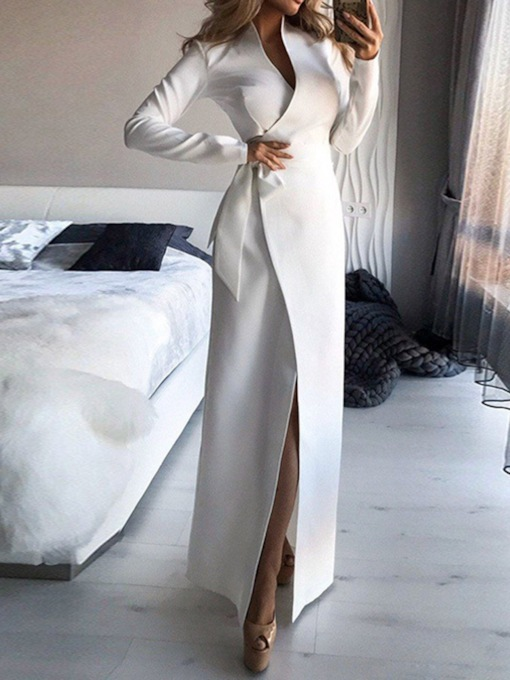 Long Sleeve Floor-Length Lace-Up Fashion Women's Dress