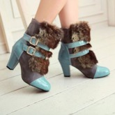 Hasp Patchwork Chunky Heel Round Toe Sweet Boots