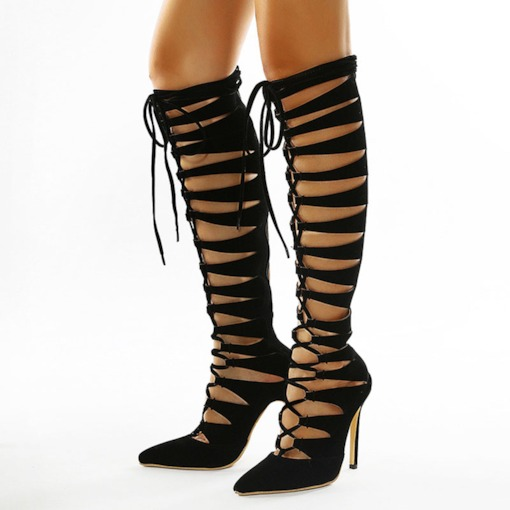 Back Zip Plain Stiletto Heel Pointed Toe Hollow Boots