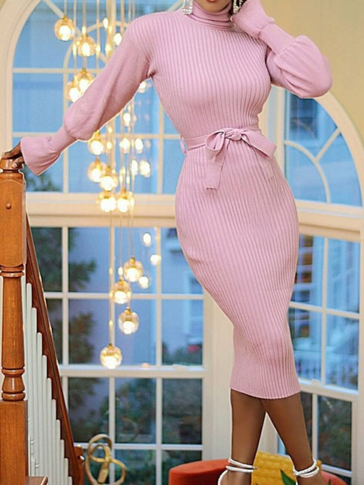 Long Sleeve Lace-Up Mid-Calf Turtleneck Pullover Women's Dress