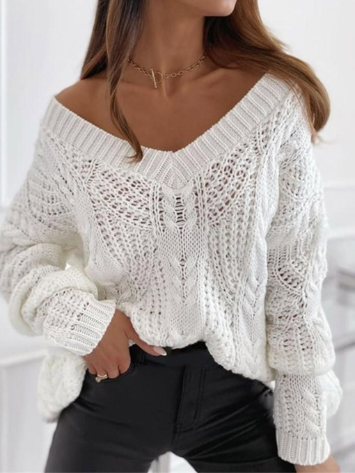 Regular Thin Hollow V-Neck Women's Sweater