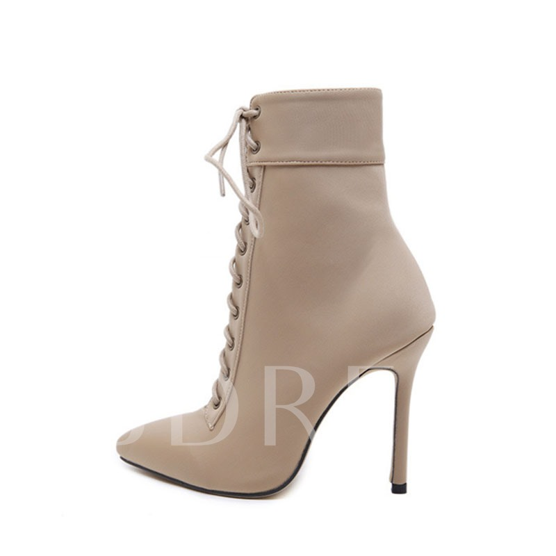 Pointed Toe Side Zipper Stiletto Heel Plain Simple Boots