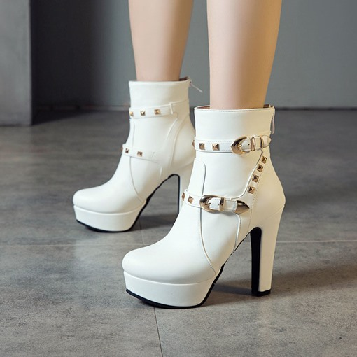 Back Zip Plain Chunky Heel Round Toe Buckle Boots