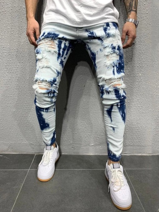 Worn Denim Pencil Pants European Men's Jeans