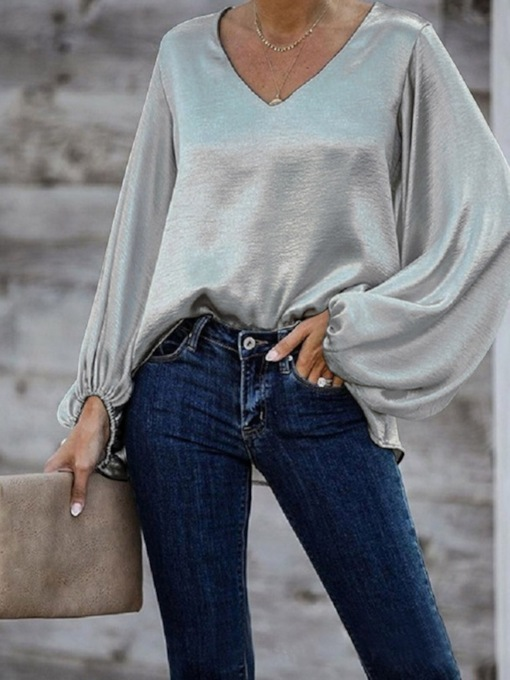 Plain Mid-Length Long Sleeve V-Neck Loose Women's T-Shirt