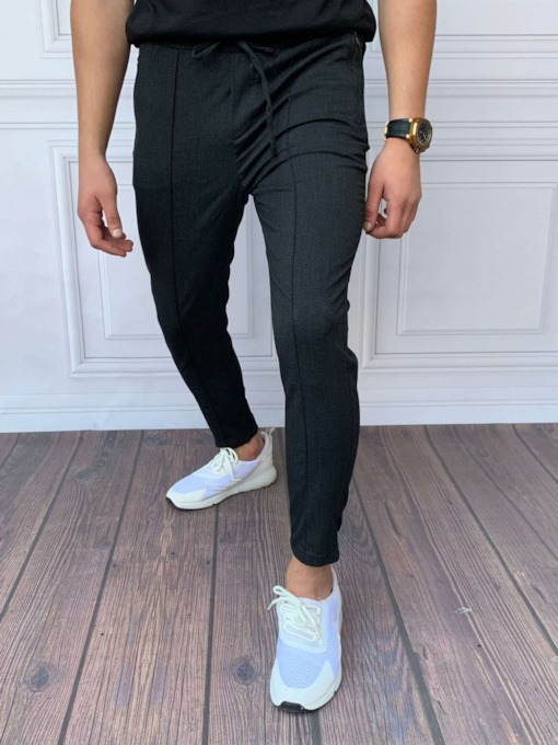Plain Pencil Pants Lace-Up Mid Waist Men's Casual Pants