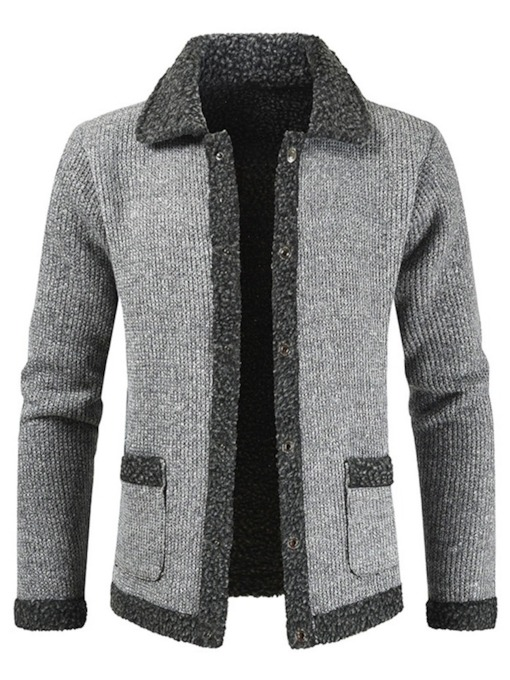 Pocket Lapel Standard Color Block Single-Breasted Men's Sweater