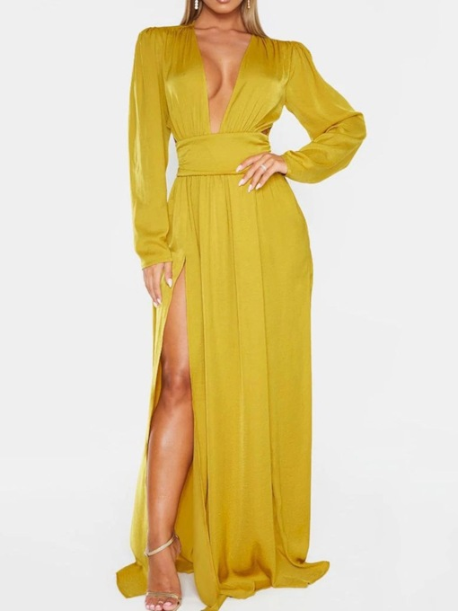 Long Sleeve Floor-Length V-Neck Split Fall Women's Dress