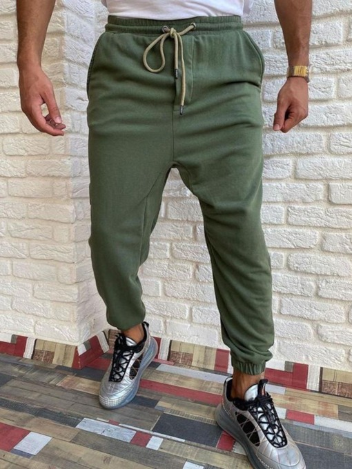 Pencil Pants Plain Mid Waist Casual Men's Casual Pants