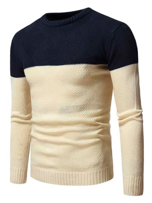 Round Neck Patchwork Standard Color Block Fall Men's Sweater