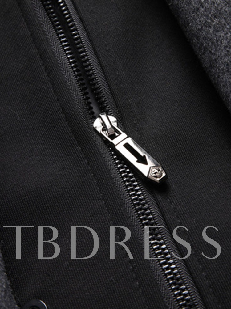 Mid-Length Double-Layer Single-Breasted Men's Coat