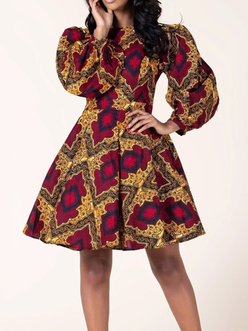Nine Points Sleeve Above Knee Patchwork Vintage Women's Dress