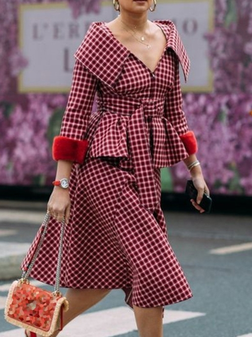 Fashion Plaid Skirt Patchwork Lapel Women's Two Piece Sets
