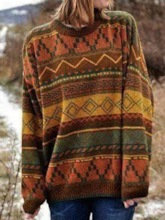 Patchwork Thin Straight Women's Sweater