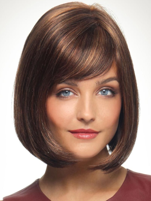 Short Bob Style Slik Straight Synthetic Hair Wigs Capless Wigs With Bangs 10 Inches 120% Wigs