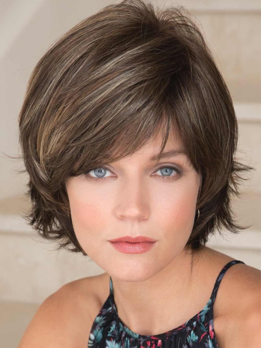 Short Shaggy Layered Straight Synthetic Hair Capless 8 Inches 120% Wigs