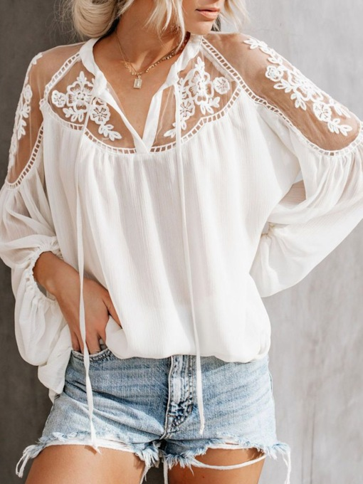 Floral Mesh Long Sleeve Women's Blouse