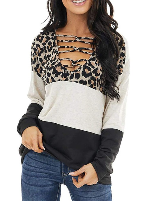 Leopard V-Neck Long Sleeve Standard Loose Women's T-Shirt