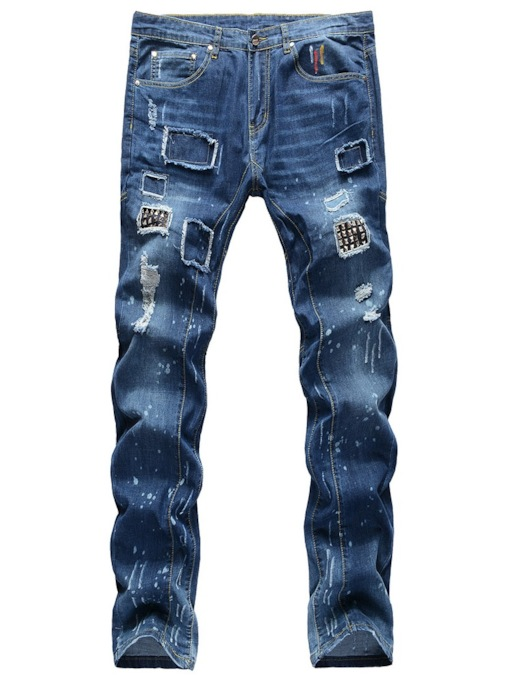 Rivet Straight Mid Waist Men's Jeans