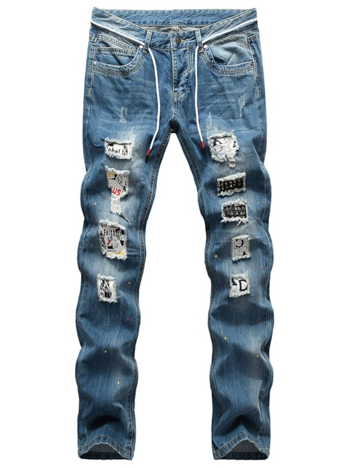 Rivet Straight Letter European Men's Jeans
