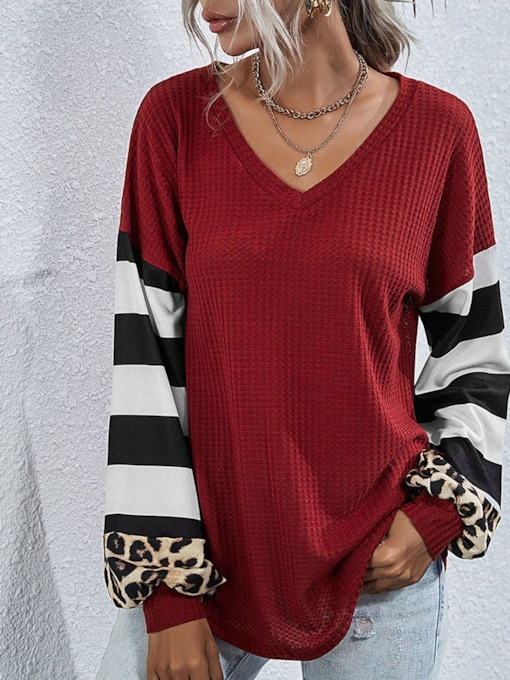 Long Sleeve Mid-Length V-Neck Stripe Casual Women's T-Shirt
