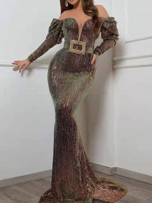 Long Sleeve Sequins Floor-Length Sexy Women's Dress