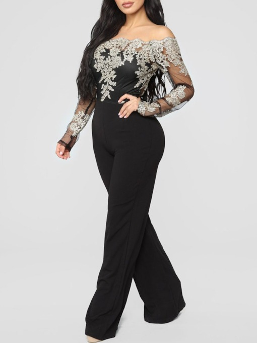 Embroidery Floral Party/Cocktail Full Length Mid Waist Women's Jumpsuit