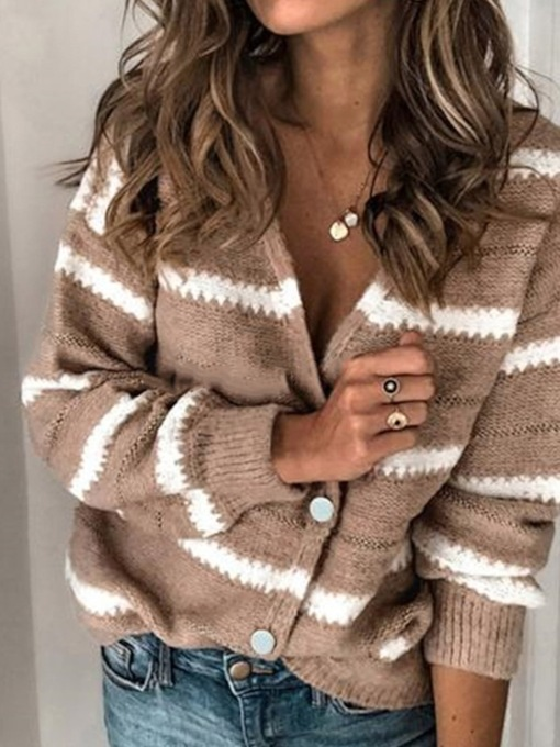 Thin Single-Breasted Button Regular V-Neck Women's Sweater
