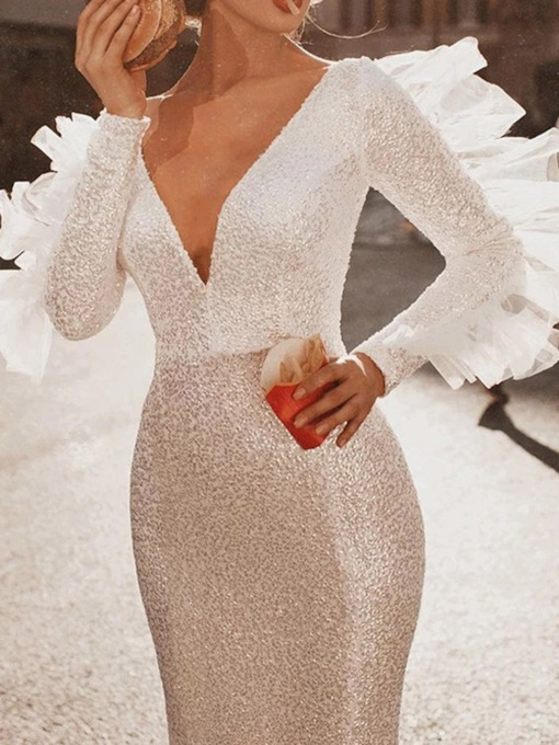 Floor-Length V-Neck Long Sleeve Sequins Pullover Women's Dress
