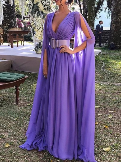 Mesh V-Neck Floor-Length Long Sleeve A-Line Women's Dress