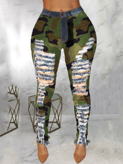 Camouflage Bleistifthose Print Skinny Damenjeans