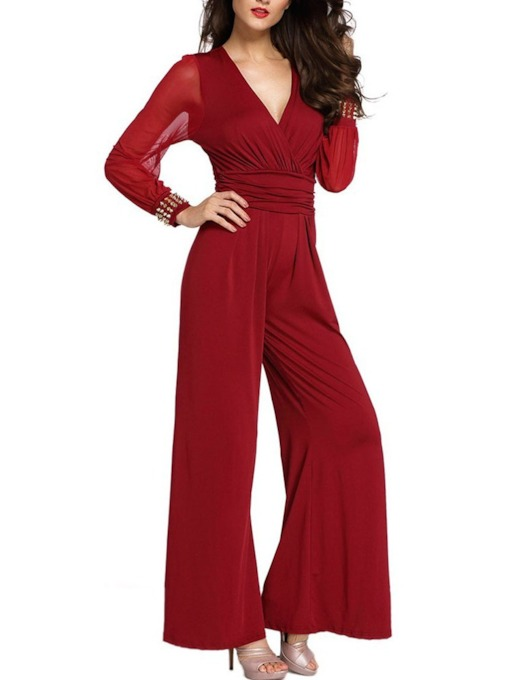 Full Length See-Through Party/Cocktail Plain Mid Waist Women's Jumpsuit