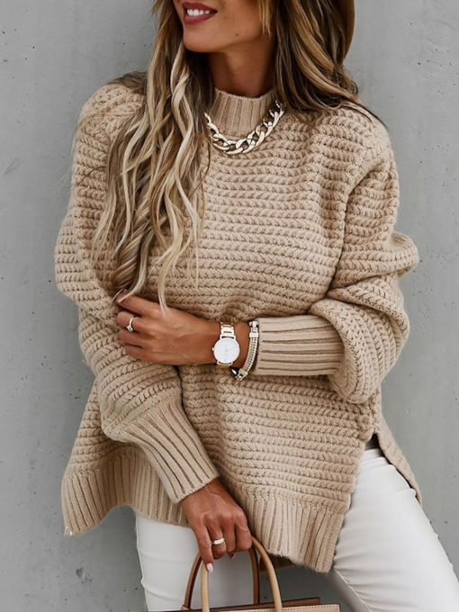 Loose Thin Regular Patchwork Long Sleeve Women's Sweater