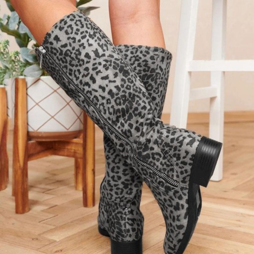 Side Zipper Round Toe Leopard Thread Boots