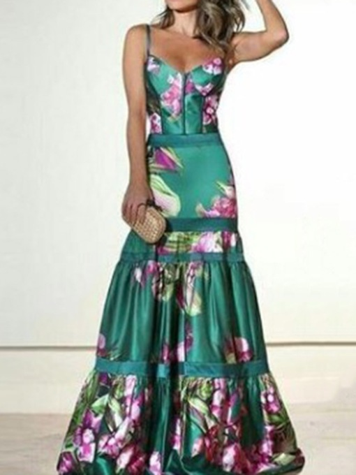 Print Floor-Length V-Neck Sleeveless Fall Women's Dress